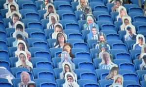 Cutout photos of fans in the stands for the Brighton & Hove Albion v Newcastle United match taking place behind closed doors today.