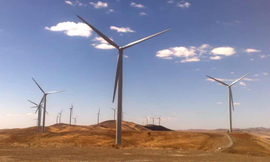 A windfarm near Burra in South Australia. The energy industry report card shows that Australia's large scale renewable target will be met ahead of time.