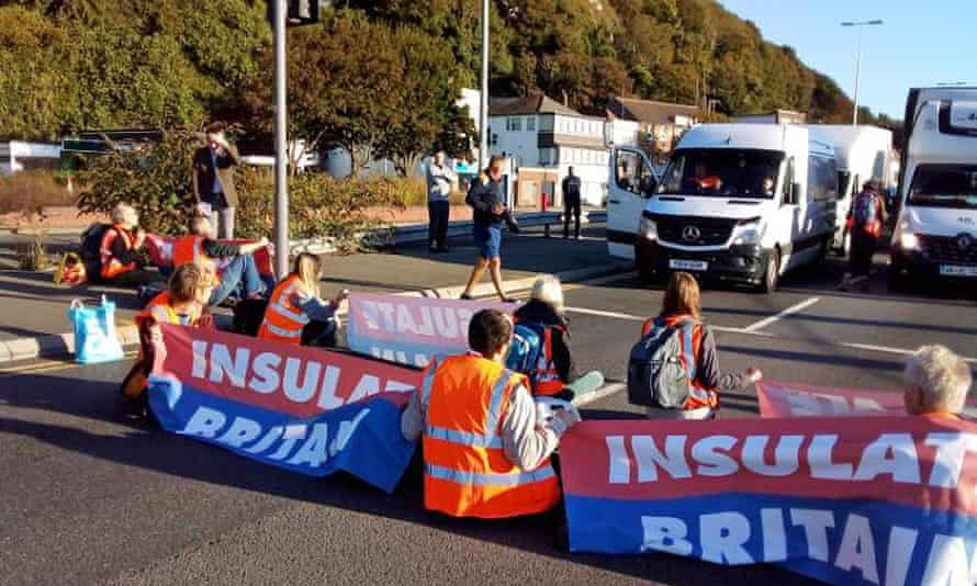 Insulate Britain protesters blocking the A20 in Dover, Kent.