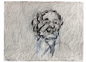 Frank Auerbach, Self Portrait IV, 2018, Graphite White chalk and Indian Ink, 22 3-4 x 30 1-4 in, 58 x 76.9 cm, Copyright Frank Auerbach, Courtesy Marlborough Fine Art