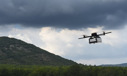 A prototype of a package delivery drone in France. The Rwanda proposal says 'specialist drones can carry blood and life-saving supplies over 100km at minimal cost'.