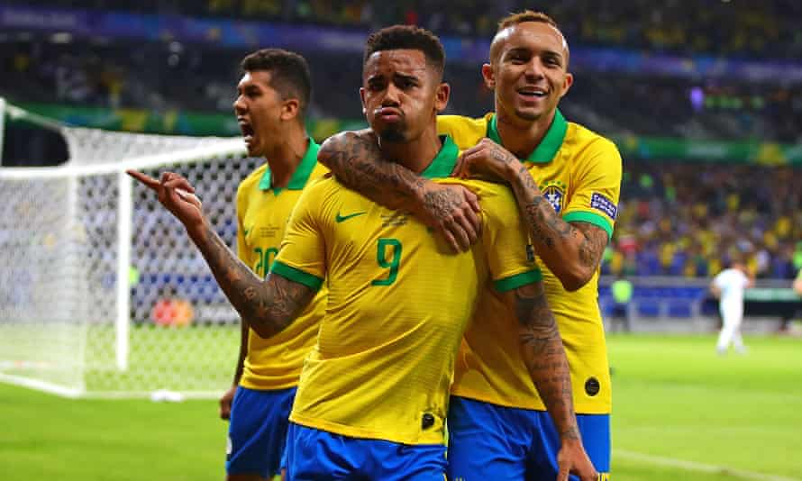 Gabriel Jesus celebrates the opening goal of the game