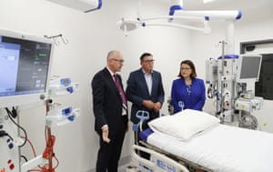 The Victorian premier, Daniel Andrews, inspects an ICU pod with the state's health minister, Jenny Mikakos, on 10 March.