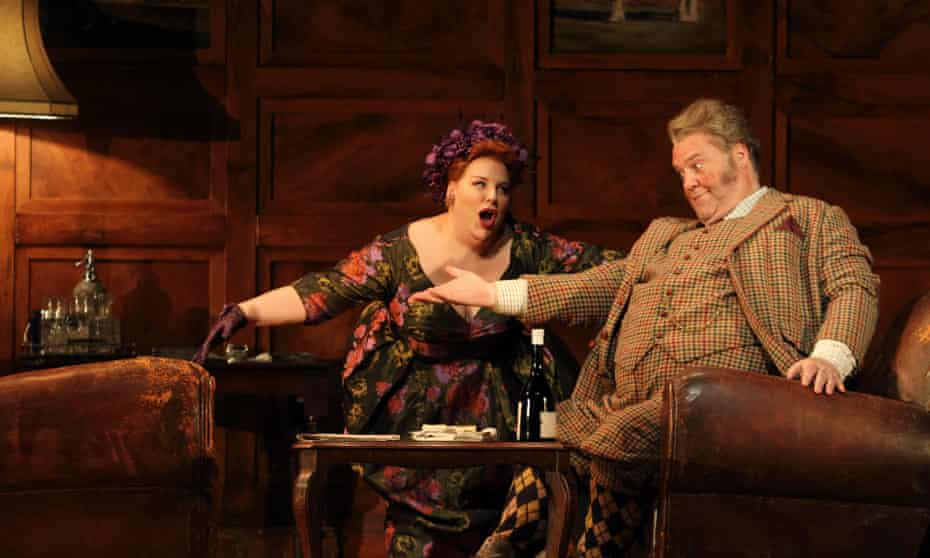 Marie-Nicole Lemieux as Mistress Quickly and Bryn Terfel in the title role of Falstaff at the Royal Opera House.