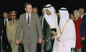 President George HW Bush is greeted by King Fahd on his arrival in Jeddah, Saudi Arabia, in November 1990.