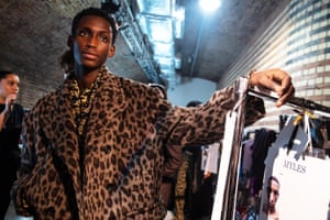 A model backstage ahead of the John Lawrence Sullivan show during London fashion week at Kachette.