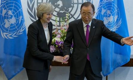 Theresa May with Ban Ki-moon