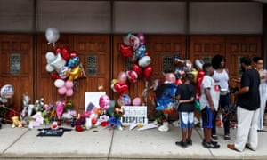 A memorial in memory of singer Aretha Franklin outside New Bethel Baptist church in Detroit.