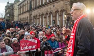 Jeremy Corbyn speaks to supporters in Pendle, Lancashire, in December 2019.
