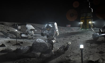An illustration by Nasa shows Artemis astronauts on the moon.