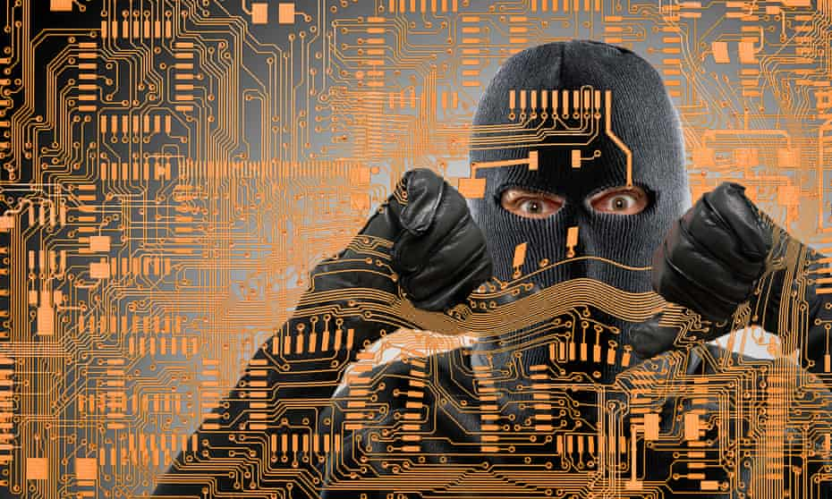 Graphic of a man in balaclava breaking through microchip pattern