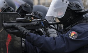 French riot police at a gilets jaunes protests in Paris