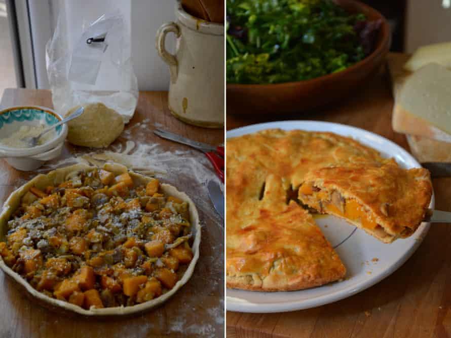 Rachel Roddy's roasted vegetable and cheese savoury tart.