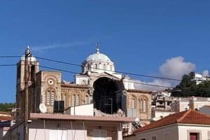 A damaged Greek Orthodox church in Karlovasi on the island of Samos in Greece