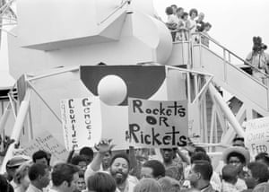 Demonstrators protest at Cape Kennedy, Florida, on July 15, 1969, on the eve of the mission of Apollo 11.