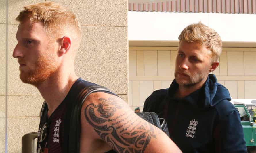 Joe Root with Ben Stokes as they prepared to leave Sri Lanka after England's two-Test series was called off