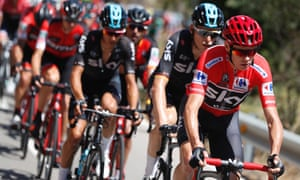 Chris Froome wears the red jersey.