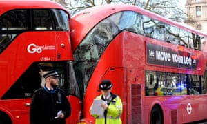 Parliament Square bus accident. Two of three buses that were involved in an accident in Parliament Square, London, that resulted in two people suffering minor injuries.