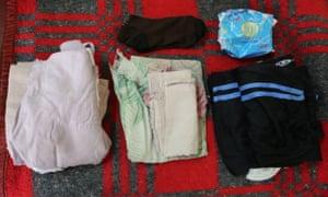 Mestawet's bag:·A towel, sanitary pads, Underwear, Sweatpants, dress, socks, soft drink