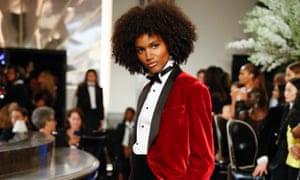 Razor-sharp tailoring and sumptuous oversized velvet jackets set the bar scene at Ralph Lauren.