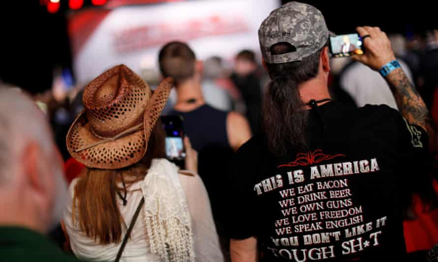 The audience at US president Donald Trump's speech to the National Rifle Association in Atlanta last April.