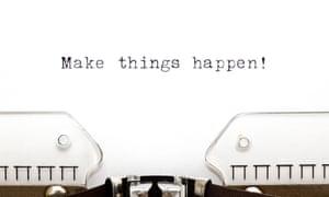 Make Things Happen printed on an old typewriter