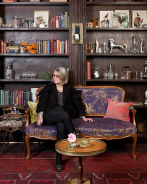 Anda Winters in the bar of the Print Room theatre, surrounded by objects she's collected.