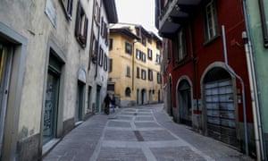 An empty street in Alzano Lombardo on 5 March