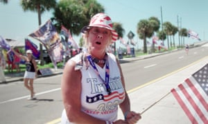 A flag-waving Trump supporter