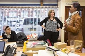 Jess Phillips (centre) in her Birmingham constituency office
