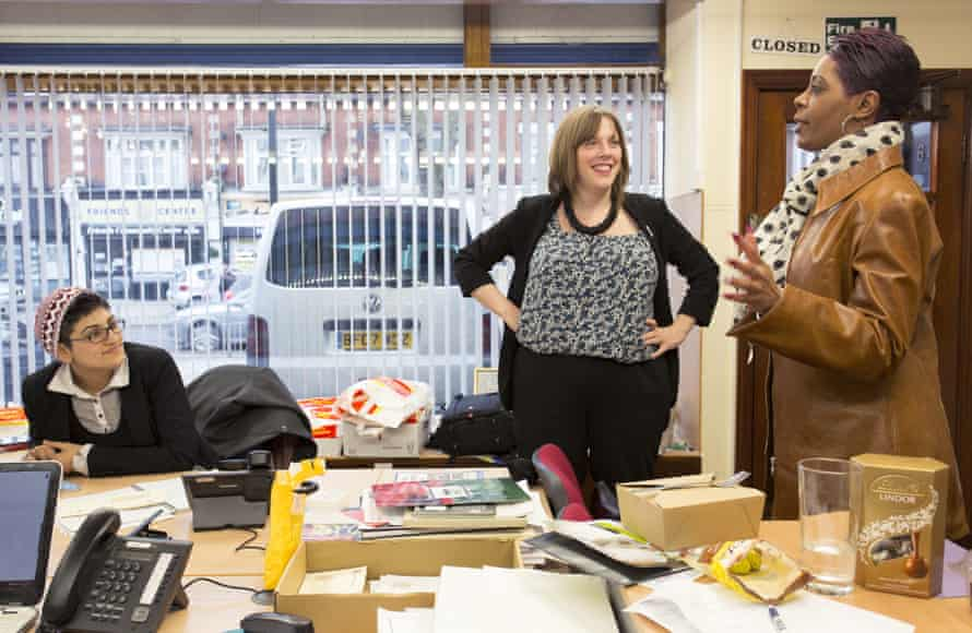 Jess Phillips (centre) in her Birmingham constituency office