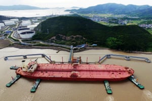 An oil tanker is seen at a crude oil terminal in Ningbo Zhoushan port