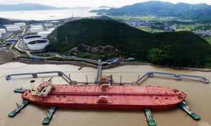 A tanker at a crude oil terminal in Ningbo Zhoushan port, China