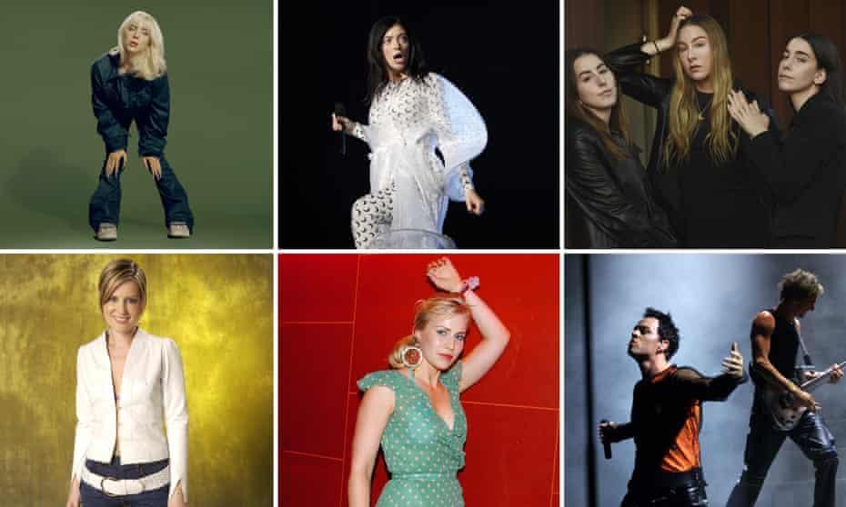 I just wanna go back ... Billie Eilish, Lorde, Haim (top row), with Dido, Natasha Bedingfield and Savage Garden (bottom row).