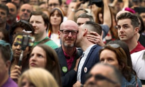 People react as Ireland voted in favour of allowing same-sex marriage in a historic referendum, in Dublin May 23, 2015.