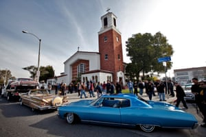 The funeral procession for the lowrider pioneer Jesse Valadez, who died last year, in east Los Angeles.