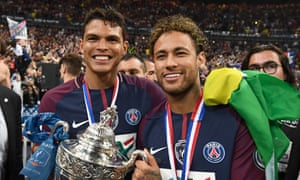 PSG captain Thiago Silva and Brazil captain Neymar celebrate after winning the Coupe de France in 2018.