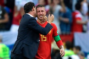 Fernando Hierro commiserates with Sergio Ramos after Spain went out of the World Cup with a penalty shootout defeat to Russia.