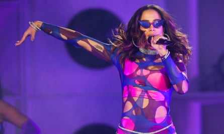 Anitta performs on stage during Rock in Rio 2019.