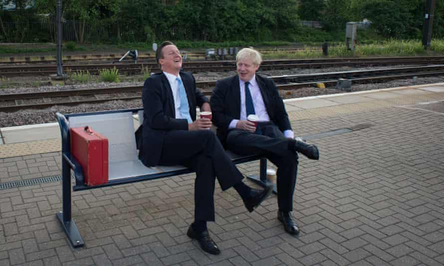 David Cameron and Boris Johnson in Newark, Nottinghamshire, prior to a byelection in 2014.