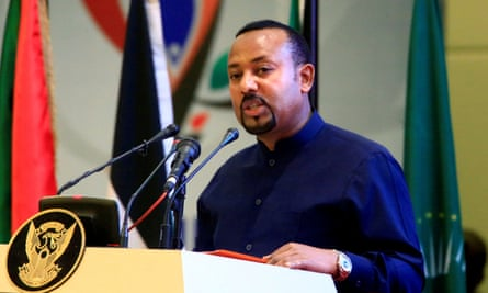 Abiy Ahmed addresses delegates during the signing of Sudan's power-sharing deal in Khartoum in August.