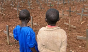 Two Rwandan children at the genocide memorial cemetery in Nyanza, where thousands were killed during the 1994 genocide, in 1999.