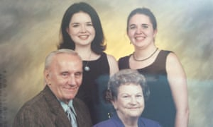 Family bonds: Mary Anna King with her sister Becca and the grandparents who adopted them.