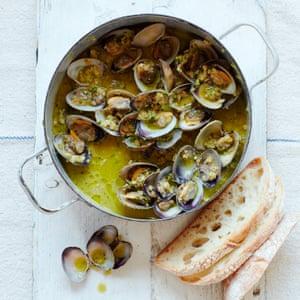Thomasina Miers' clams with wild garlic, almond and hazelnut.
