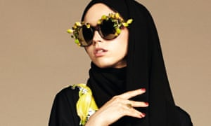 Dolce & Gabbana's hijabs come in sheer georgette with lace detailing.