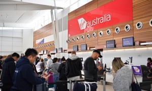 A queue at the Virgin Australia check in area at Adelaide airport.