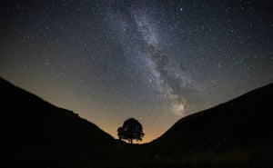 The Milky Way is seen over Sycamore Gap on Hadrian's Wall in England