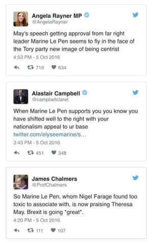 Tweets about Marine Le Pen apparently endorsing Theresa May's comments