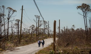 Women walking eastbound on their way to High Rock in the eastern side of Grand Bahama island. Hurricane Dorian caused considerable damages to the island of Grand Bahama especially to the eastern side.