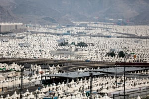 Thousands of tents are prepared on the outskirts of Mecca